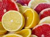 Sliced Lemons, Grapefruit, Oranges