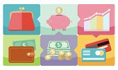 image of coin bank  - Money icons in flat design style on multicolor background - JPG