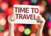 Time to Travel card with colorful background with defocused lights