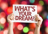 Whats your Dream? card with colorful background with defocused lights