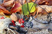 Ethnic Handmade Magic B&w Clay Amulet