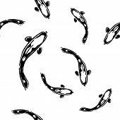Koi carps black and white seamless pattern