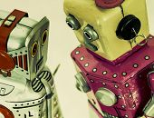 two robot toys talk