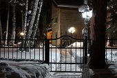 pic of novosibirsk  - The path to the house at night - JPG