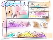 image of bakeshop  - An Illustration of a Bakeshop with Cake Display - JPG