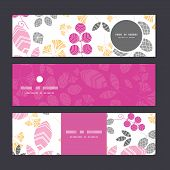 Vector abstract pink, yellow and gray leaves horizontal banners set pattern background