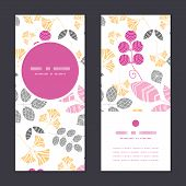 Vector abstract pink, yellow and gray leaves vertical round frame pattern invitation greeting cards