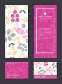 Vector abstract pink, yellow and gray leaves vertical frame pattern invitation greeting, RSVP and th