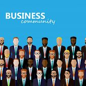 vector flat  illustration of business or politics community. a large group of business men or politi