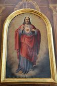 TRAVNIK, BOSNIA AND HERZEGOVINA - JUNE 11: Sacred Heart of Jesus, the altarpiece in the church of St. Aloysius in Travnik, Bosnia and Herzegovina on June 11, 2014.