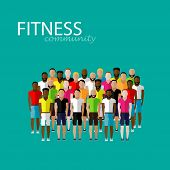 vector flat illustration of a large group of men. fitness community