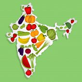 pic of indian apple  - Map of India full of fruits and vegetables  - JPG