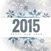 happy new year design with 2015 written at centre and snowflakes on top and bottom