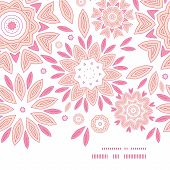 Vector pink abstract flowers horizontal frame seamless pattern background