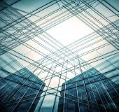 Perspective illustration wide angle view to steel light blue background of glass high rise building skyscraper commercial modern city of future. Business concept of success industry tech architecture
