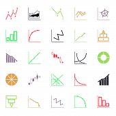 foto of fibonacci  - Economic and investment diagram line icon flat color stock vector - JPG