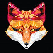 Fox Head In Geometric Pattern, Vector Illustration