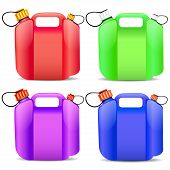 Set Of Colored Plastic Gasoline Container
