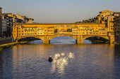 Ponte Vecchio in Florence on sunset