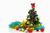 Christmas Tree With Colorful Ornaments.