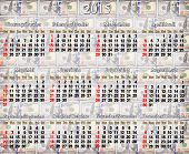Calendar For 2015 Year On The Dollar's Background