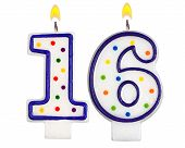 stock photo of sweet sixteen  - Birthday candles number sixteen isolated on white background - JPG