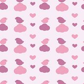 Pattern With Birds, Hearts And Clouds
