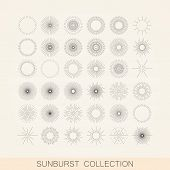 picture of shapes  - vector set of geometric sunburst and light ray shapes - JPG