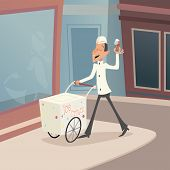 Happy Smiling Ice Cream Seller with Cart on street Retro Vintage Cartoon Character Icon Stylish Back