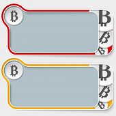 stock photo of bit coin  - set of two abstract text boxes and bit coin symbol - JPG
