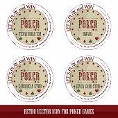 Vintage poker icons for poker games presentation