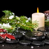 Winter Spa Still Life Of Zen Basalt Stones, Evergreen Branches, Red Leaves With Drops, Snow And Cand