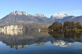 image of annecy  - Overview of Lake of Annecy and Forclaz mountain in france - JPG