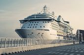 image of cruise ship  - Passenger Transatlantic Cruise Liner Docked at Barcelona Passenger Terminal Spain - JPG