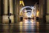 christmas lights at night in downtown Lisbon - Portugal