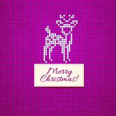 Christmas knitting  background with christmas deer