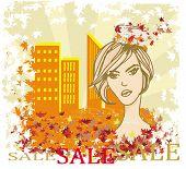 Autumn Sale Girl, Banner