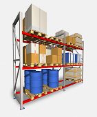 Storage Racks And Pallets With Various Products.