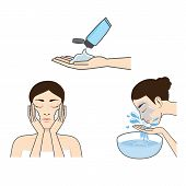 Women-Wash-Face-Cartoon