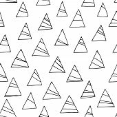 Abstract Black And White Seamless Pattern With Triangles. White Background.