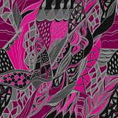 Abstract Hand Drawn Composition With Traditional Ornamental. Pink  And Gray Colors.