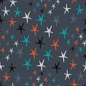 Vector Seamless Pattern. Starry Background. Endless Stylish Gray Texture.