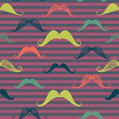 Mustache Seamless Pattern In Vintage Style.
