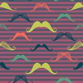 Mustache Seamless Pattern In Vintage Style.