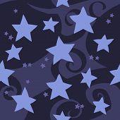 Vector cartoon flat blue stars seamless pattern.