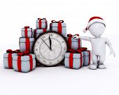 3D Render of Santa Morph Man with clock before midnight