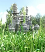 Futuristic City with blade of grass ecology concept background