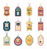 Shopping Tag Banner Flat Design Background Set, Eps10