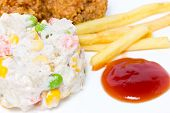 Tuna Salad With Chichen And French Fried.
