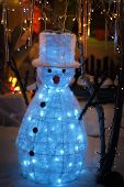 Snowman Snow Christmas Display With Twinkling Lights Wonderland